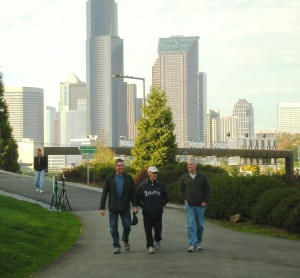 Trail users are offered not only a safe and accessible route to downtown and the Stadium District but incredible scenic views of the Seattle cityscape and Puget Sound. Photo courtesy Mountains to Sound Greenway Trust