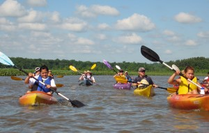 Paddlers on the upper Patuxent River during the annual Patuxent Sojourn paddle. Credit: Jane Thomas, IAN-UMES