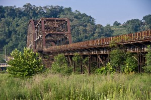 View of Rankin hot bridge connecting Homestead Steel Works to the Carrie Furnaces. Image FLICKR creative commons, user Jay M. Ressler