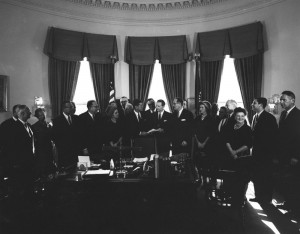 President John F. Kennedy meets with members of the ORRRC. Abbie Rowe. White House Photographs. John F. Kennedy Presidential Library and Museum, Boston