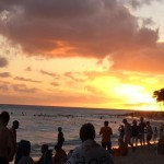 September Sunset Waikiki Beach Honolulu