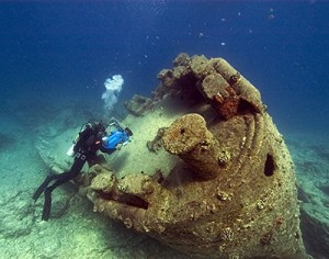 Remains of the USS Macaw that sank near Midway Island. Credit: Robert Schwemmer, NOAA