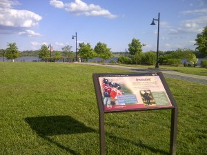 Interpretive signage for the Star-Spangled Banner National Historic Trail in Leonardtown, MD.