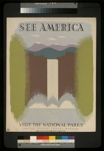"This poster, from the late 1930s, is an example of the ""See America"" themed posters created by WPA artists. Poster by Harry Herzog. Source: Library of Congress"