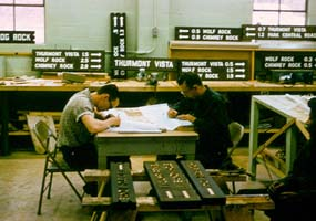 Job corps members work in the Catoctin sign shop. Image: NPS
