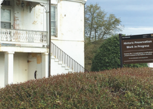 Sign explaining historic preservation work, Fort Monroe National Monument. Photograph by Rolf Diamant