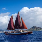 The voyaging canoe Hokulea'a Credit: Polynesian Voyaging Society and ʻŌiwi TV.